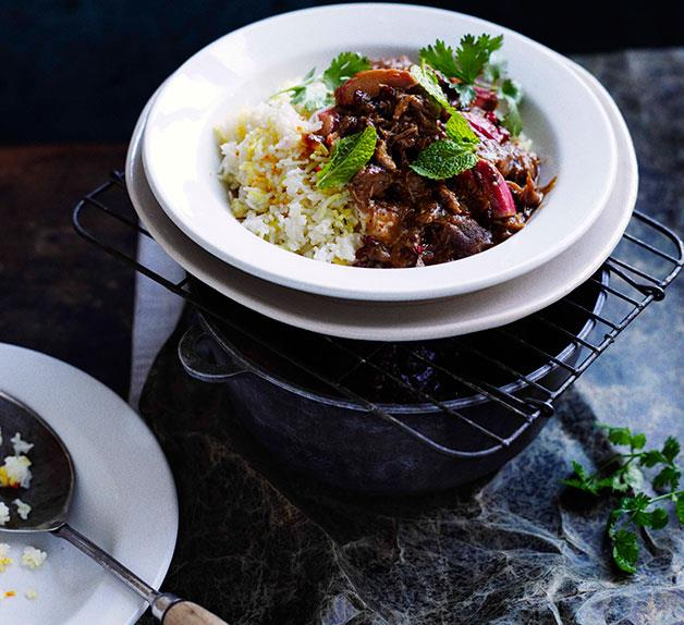 Persian lamb with rhubarb and chelow