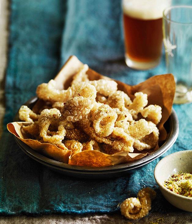 "[**Pork scratchings with spicy salt**](https://www.gourmettraveller.com.au/recipes/browse-all/pork-scratchings-with-spicy-salt-11030|target=""_blank"")"