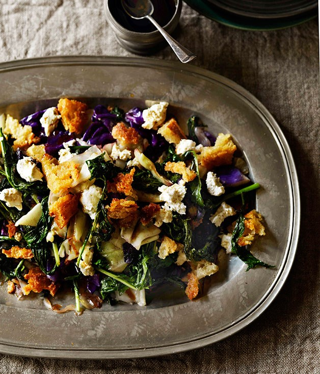 Dripping-fried bread, brassica and goat's cheese salad