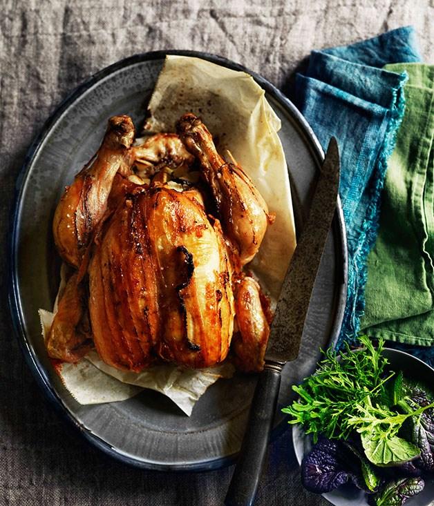 **Lardo-barded lemon chicken** **Lardo-barded lemon chicken**    [View Recipe](http://gourmettraveller.com.au/lardo-barded-lemon-chicken.htm)     PHOTOGRAPH **WILLIAM MEPPEM**