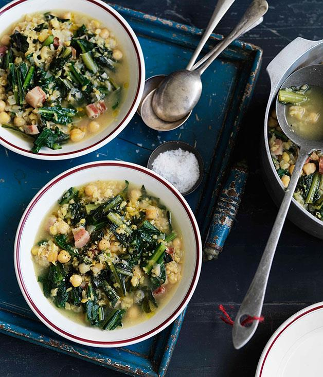"[**Chicory, chickpea and pancetta soup (zuppa di ceci, cicoria e pancetta)**](http://www.gourmettraveller.com.au/recipes/browse-all/chicory-chickpea-and-pancetta-soup-zuppa-di-ceci-cicoria-e-pancetta-11054|target=""_blank"")"