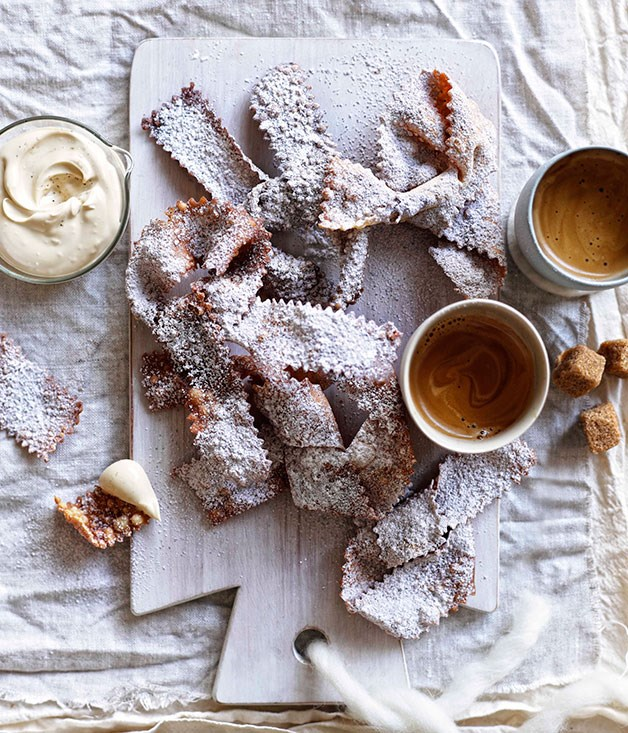 Fried pastries with espresso mascarpone