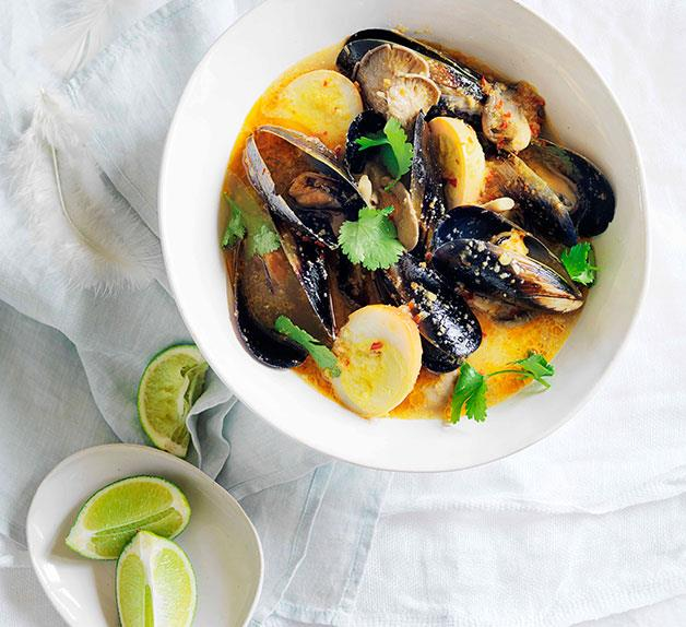 Smoked duck egg and mussel soup