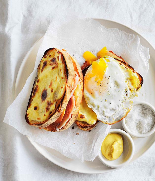 "**[Croque-madame](http://www.gourmettraveller.com.au/recipes/browse-all/croque-madame-11079|target=""_blank"")**"