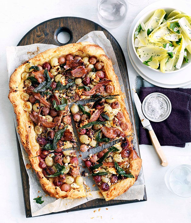 Agrodolce grape tart with goat's feta, pancetta and witlof salad