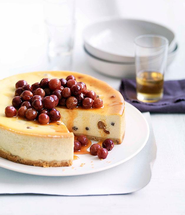 """[**Ricotta and honey torte with scorched honey grapes**](http://www.gourmettraveller.com.au/ricotta-and-honey-torte-with-scorched-honey-grapes.htm