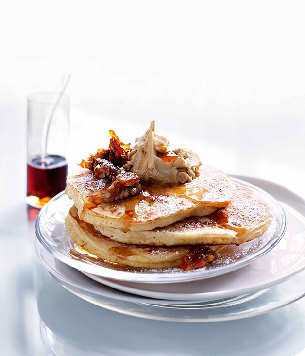 Cinnamon pancakes with whipped maple butter and candied walnuts
