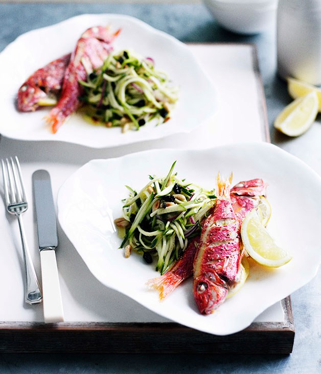 Roast red mullet with zucchini agrodolce