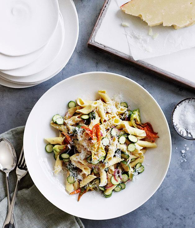 "[**Zucchini flower, mint and pecorino penne**](https://www.gourmettraveller.com.au/recipes/browse-all/zucchini-flower-mint-and-pecorino-penne-11095|target=""_blank"")"