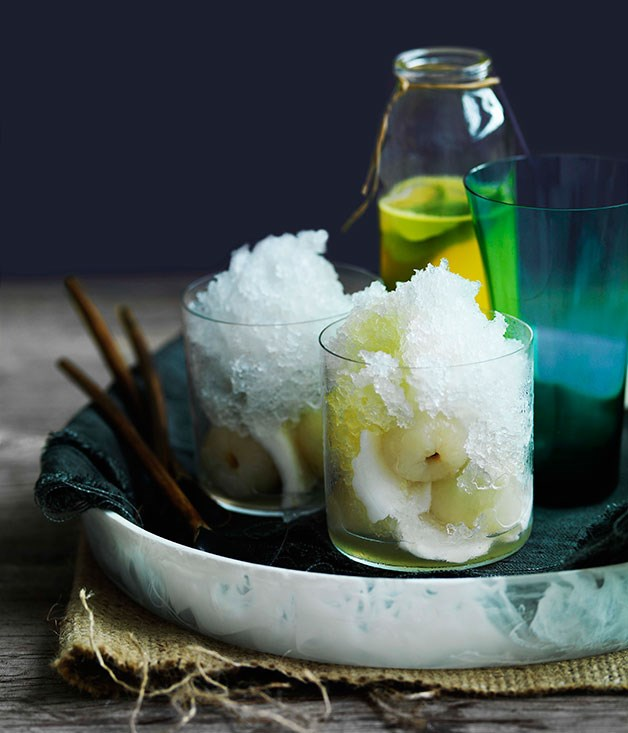 **** **Coconut snow cones with young coconut and pineapple ginger syrup**    [View Recipe](http://www.gourmettraveller.com.au/coconut-snow-cones-with-young-coconut-and-pineapple-ginger-syrup.htm)     PHOTOGRAPH **WILLIAM MEPPEM**