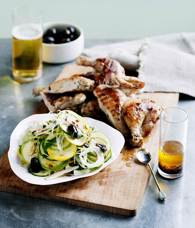 "[**Barbecued spatchcock with zucchini, fennel and olive salad**](https://www.gourmettraveller.com.au/recipes/browse-all/barbecued-spatchcock-with-zucchini-fennel-and-olive-salad-11112|target=""_blank"")"