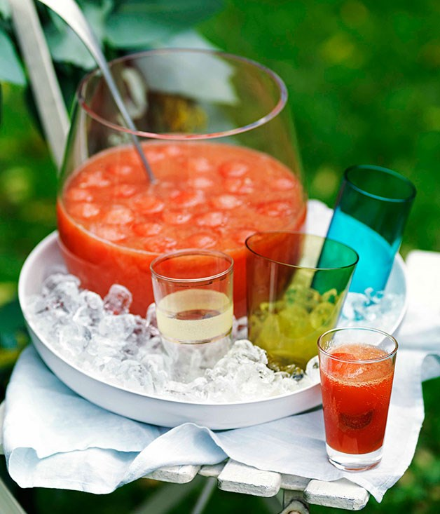 Watermelon, orange and rhubarb punch