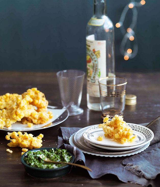 "[**Corn fritters with jalapeño and coriander salsa**](https://www.gourmettraveller.com.au/recipes/browse-all/corn-fritters-with-jalapeno-and-coriander-salsa-10623|target=""_blank"")"