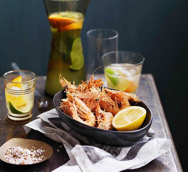 Salt and pepper prawns with lemon