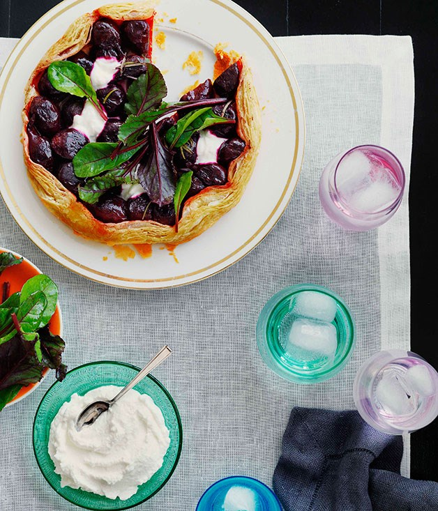 Roast baby beetroot, goat's curd and rosemary tart