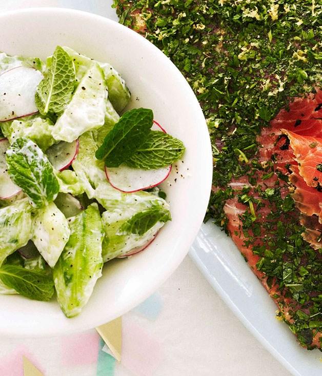 Crushed cucumber and mint salad