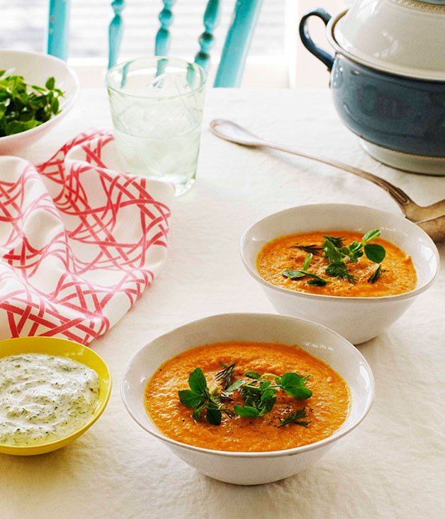 "[**Chilled carrot soup with lemon and dill yoghurt**](https://www.gourmettraveller.com.au/recipes/browse-all/chilled-carrot-soup-with-lemon-and-dill-yoghurt-10640|target=""_blank"")"