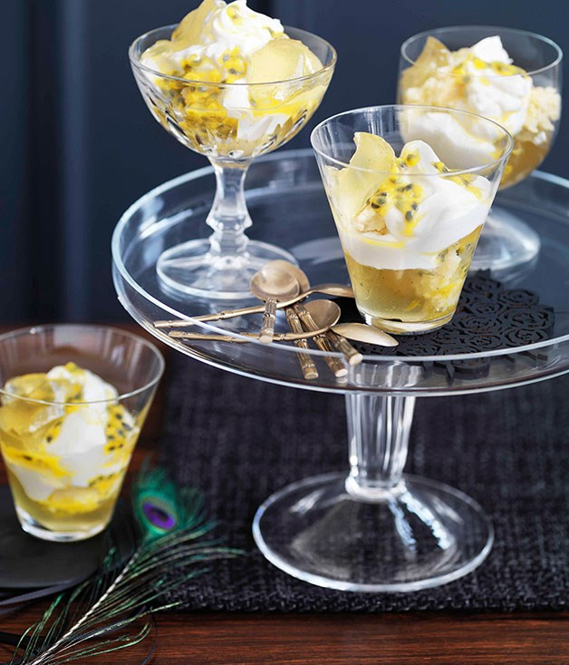 Passionfruit, lime and coconut trifle