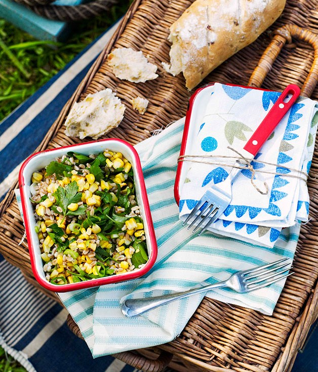 Farro and roasted corn salad
