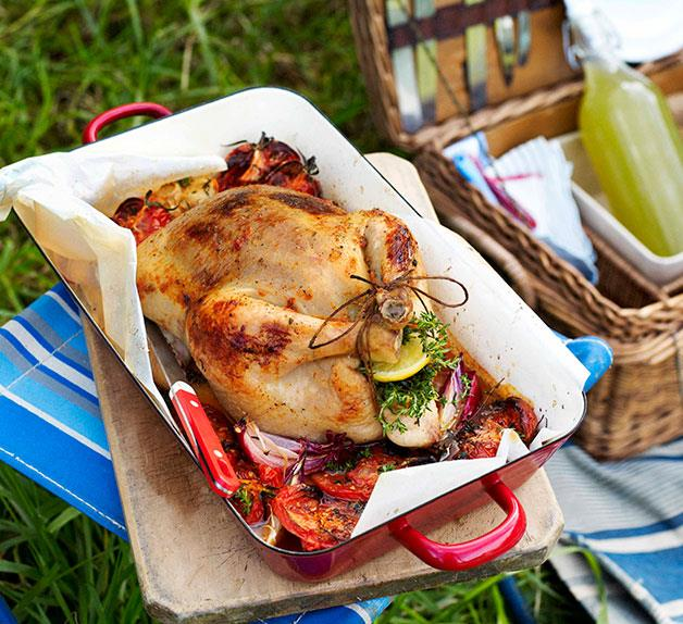 Tomato and thyme roast chicken