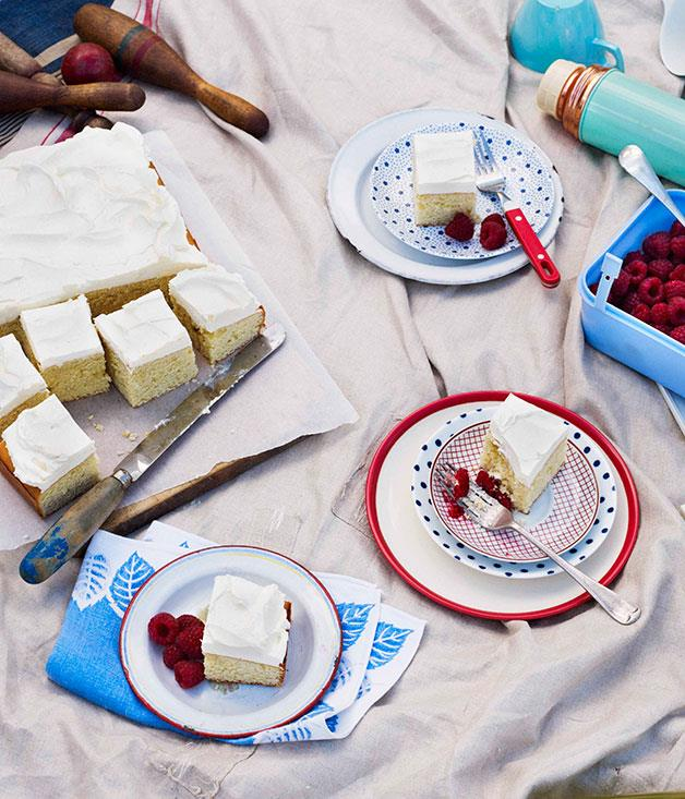 "[**Buttermilk and vanilla cake with raspberries**](https://www.gourmettraveller.com.au/recipes/browse-all/buttermilk-and-vanilla-cake-with-raspberries-10671|target=""_blank"")<br>"