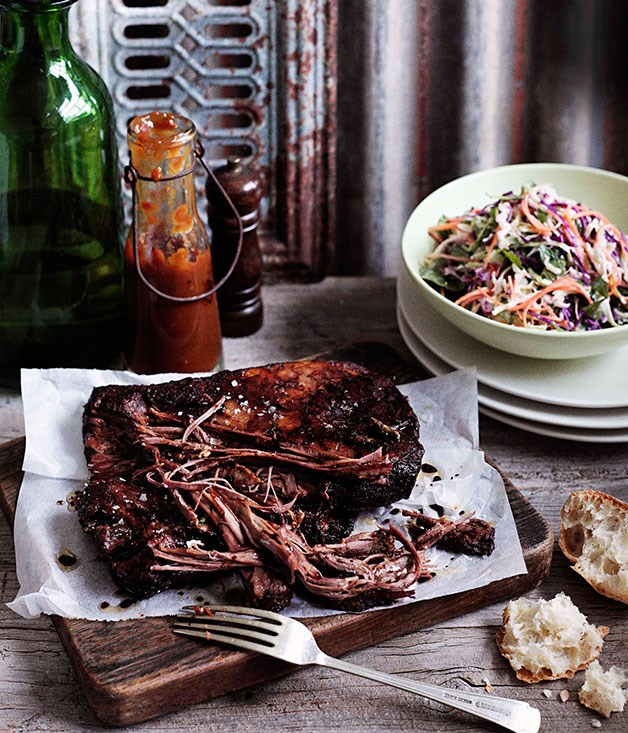 Cheat's Texas brisket with coleslaw and barbecue sauce