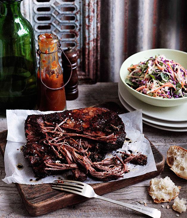 """**[Cheat's Texas brisket with coleslaw and barbecue sauce](https://www.gourmettraveller.com.au/recipes/browse-all/cheats-texas-brisket-with-coleslaw-and-barbecue-sauce-10674