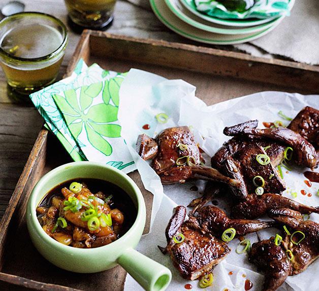 Crisp oolong-smoked quail with mandarin-ginger dipping sauce