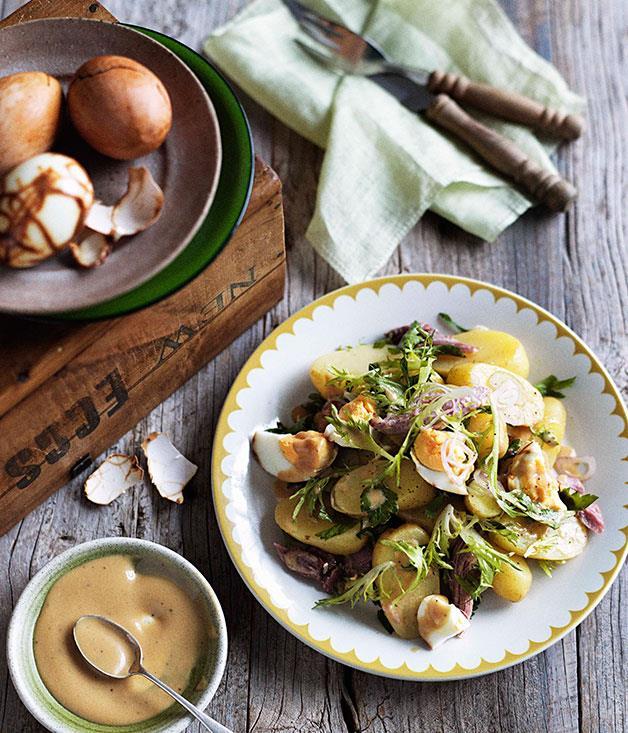 **Smoked ham, smoked egg and potato salad with mustard dressing** **Smoked ham, smoked egg and potato salad with mustard dressing**    [View Recipe](http://gourmettraveller.com.au/smoked-ham-smoked-egg-and-potato-salad-with-mustard-dressing.htm)     PHOTOGRAPH **BEN DEARNLEY**