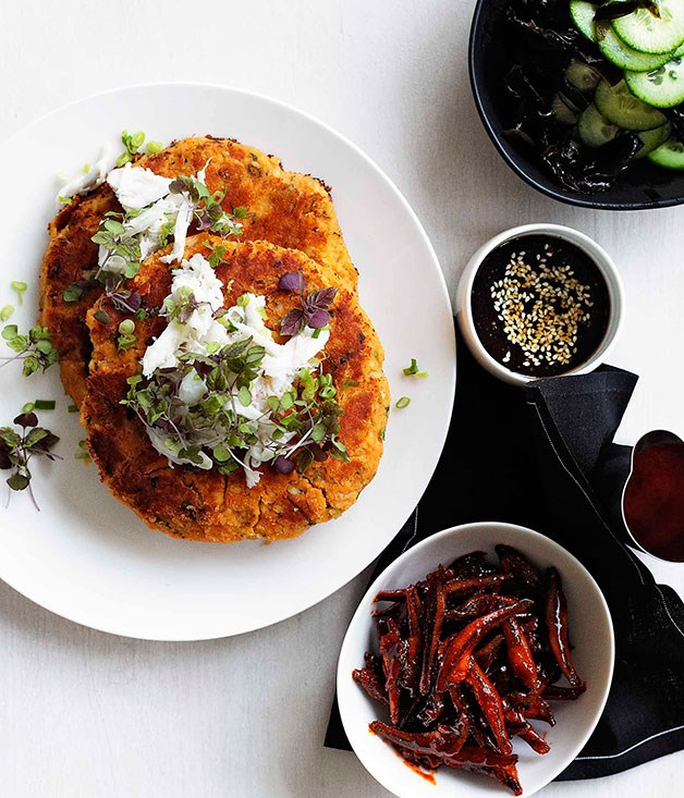 "[**Kimchi and crab pancake with banchan**](https://www.gourmettraveller.com.au/recipes/browse-all/kimchi-and-crab-pancake-with-banchan-10680|target=""_blank"")"