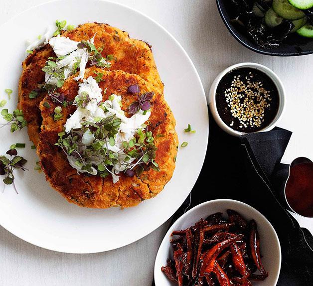 Kimchi and crab pancake with banchan