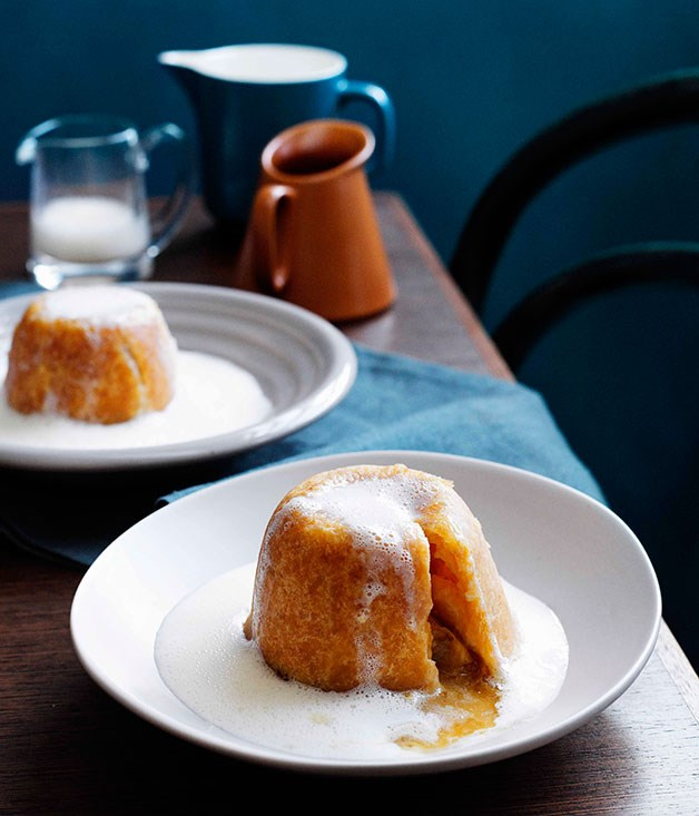 **Sussex pond puddings with mandarin English cream**