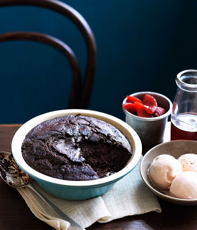 **Self-saucing chocolate and sherry pudding with quince and quince and sherry ice-cream**