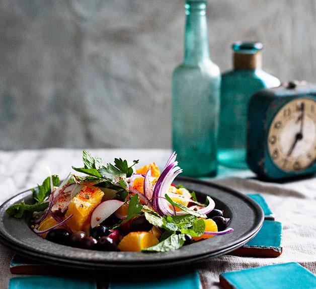 Moroccan orange, olive and onion salad