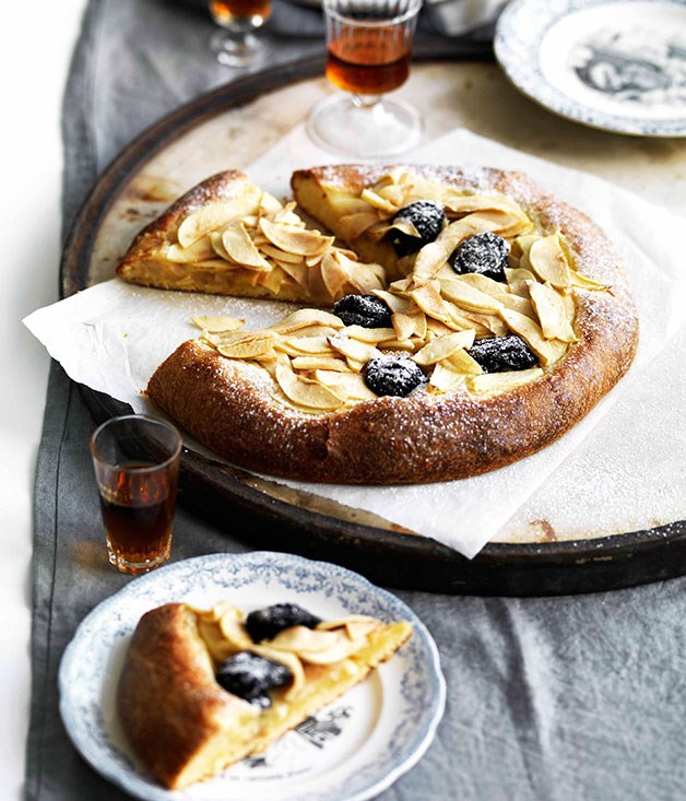 Apple and prune brioche tart