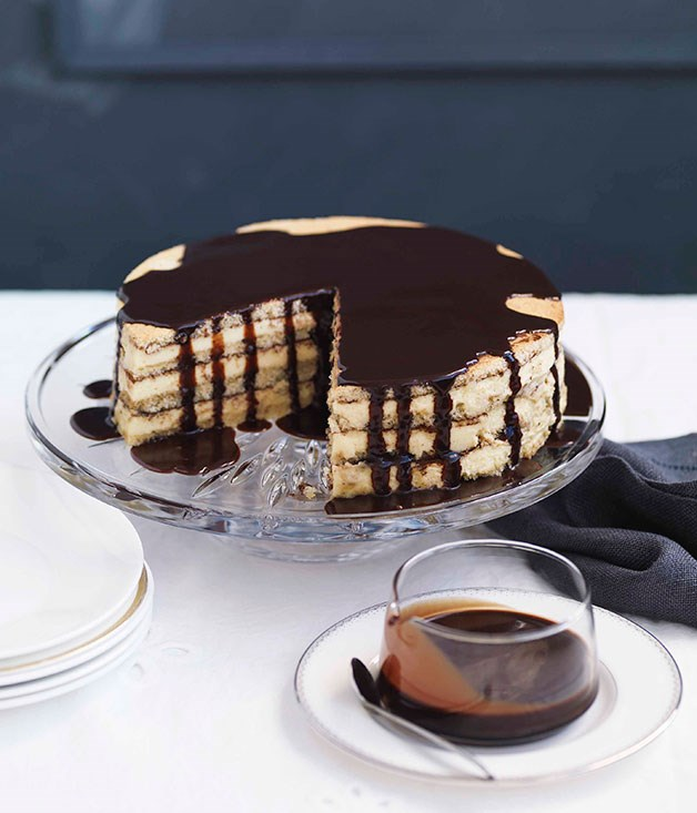 **Almond and white chocolate gâteau with bitter chocolate glaze** **Almond and white chocolate gâteau with bitter chocolate glaze**    [View Recipe](http://gourmettraveller.com.au/almond-and-white-chocolate-gateau-with-bitter-chocolate-glaze.htm)     PHOTOGRAPH **WILLIAM MEPPEM**