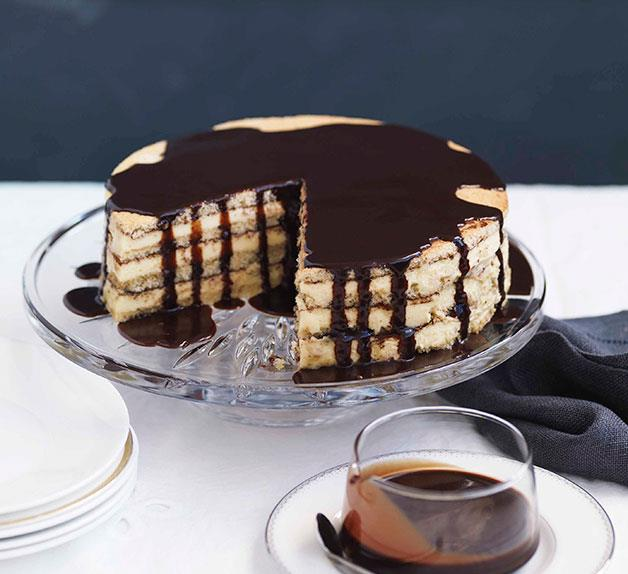 Almond and white chocolate gâteau with bitter chocolate glaze