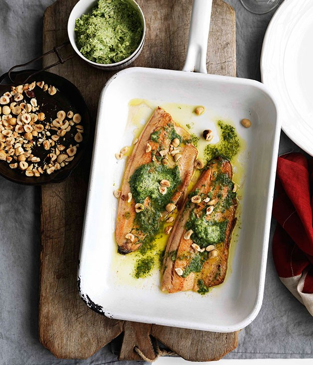 **Pan-fried trout with sorrel butter and hazelnuts** **Pan-fried trout with sorrel butter and hazelnuts**    [View Recipe](http://www.gourmettraveller.com.au/pan-fried-trout-with-sorrel-butter-and-hazelnuts.htm)     PHOTOGRAPH **WILLIAM MEPPEM**