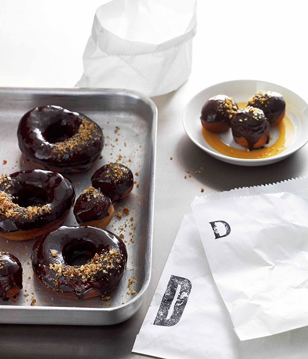 Sticky bitter chocolate doughnuts