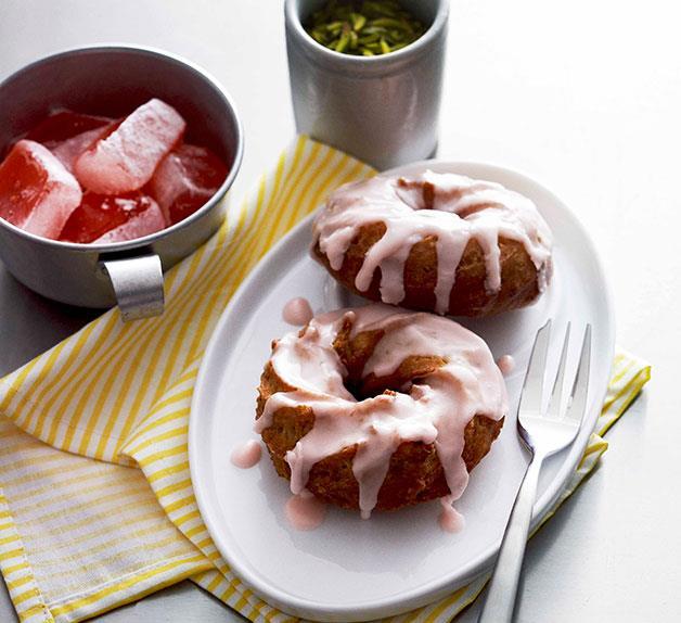 Pistachio doughnuts with rosewater glaze