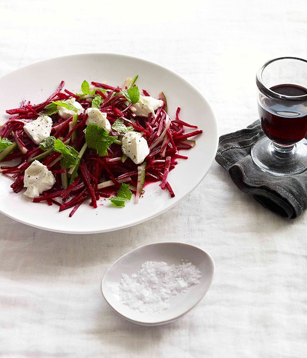 **Crunchy beetroot and mint salad with labne** **Crunchy beetroot and mint salad with labne**    [View Recipe](http://www.gourmettraveller.com.au/crunchy-beetroot-and-mint-salad-with-labne.htm)     PHOTOGRAPH **CHRIS CHEN**