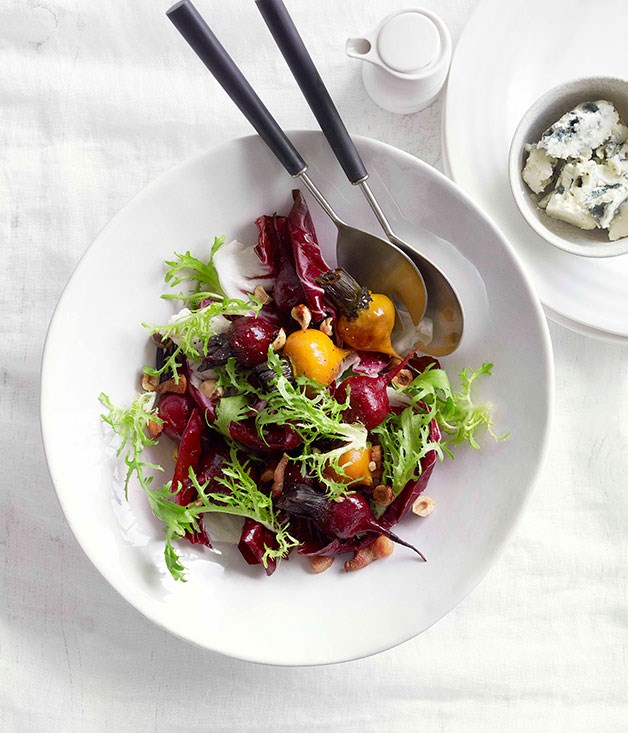 "[**Crunchy beetroot and mint salad with labne**](https://www.gourmettraveller.com.au/recipes/browse-all/crunchy-beetroot-and-mint-salad-with-labne-10728|target=""_blank"") <br><br> This one looks almost too pretty to eat, but once you dig in you'll keep coming back for more."