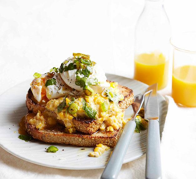 Poached eggs with creamed corn and green chilli relish
