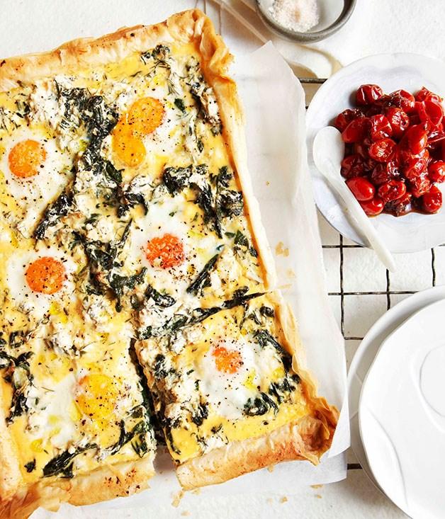 Egg, spinach, rocket and feta breakfast tart