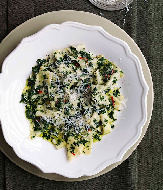 **Stracci with cavolo nero and garlic** **Stracci with cavolo nero and garlic**    [View Recipe](http://gourmettraveller.com.au/stracci-with-cavolo-nero-and-garlic.htm)     PHOTOGRAPH **WILLIAM MEPPEM**