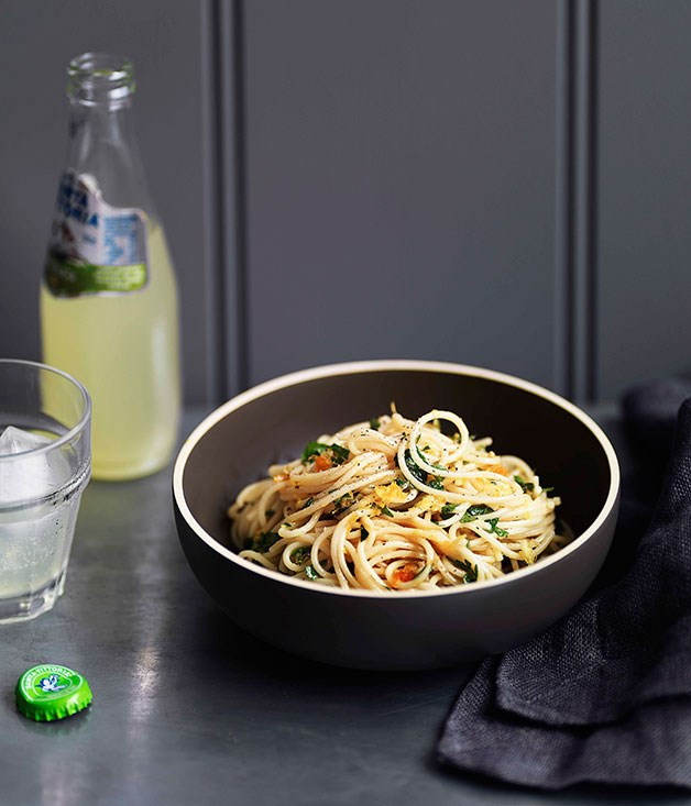 **Spaghettini with lemon and bottarga** **Spaghettini with lemon and bottarga**    [View Recipe](http://gourmettraveller.com.au/spaghettini-with-lemon-and-bottarga.htm)     PHOTOGRAPH **WILLIAM MEPPEM**