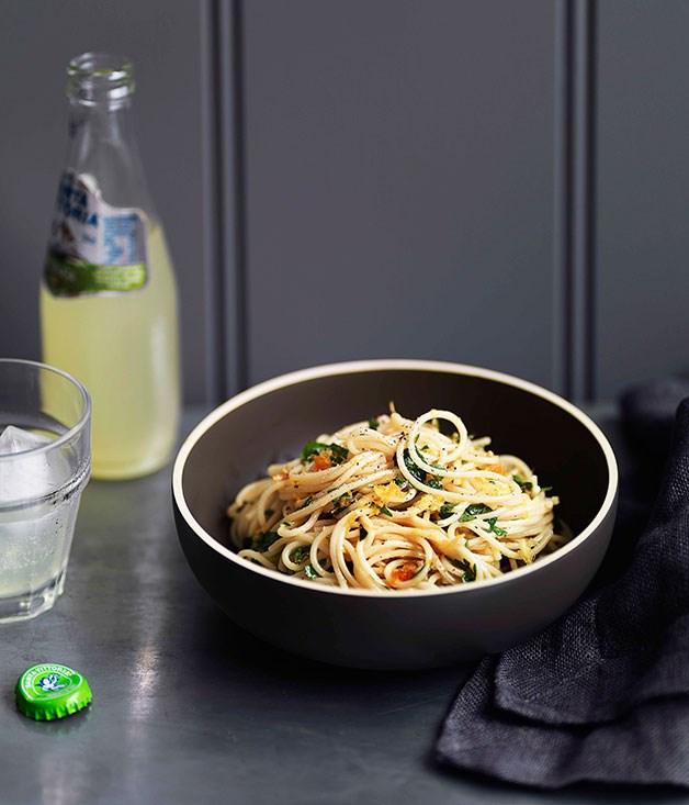 Spaghettini with lemon and bottarga