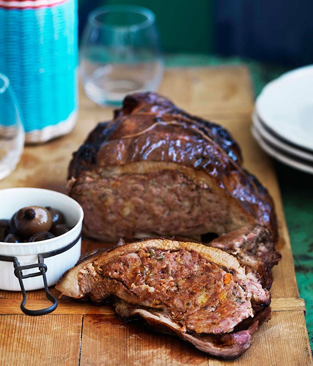 Slow-roasted veal breast stuffed with sausage