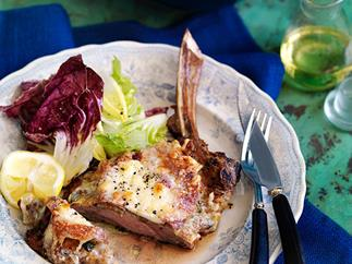 Veal cutlets with pancetta and Fontina