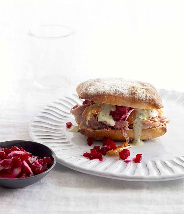 Slow-roasted pork shoulder panini with parsley mayo and pickled beetroot